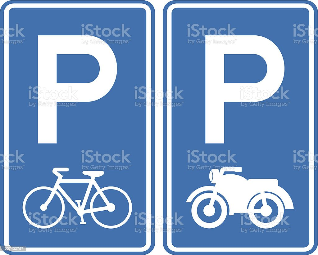 Park area sign for Bicycles and Motorcycle vector art illustration