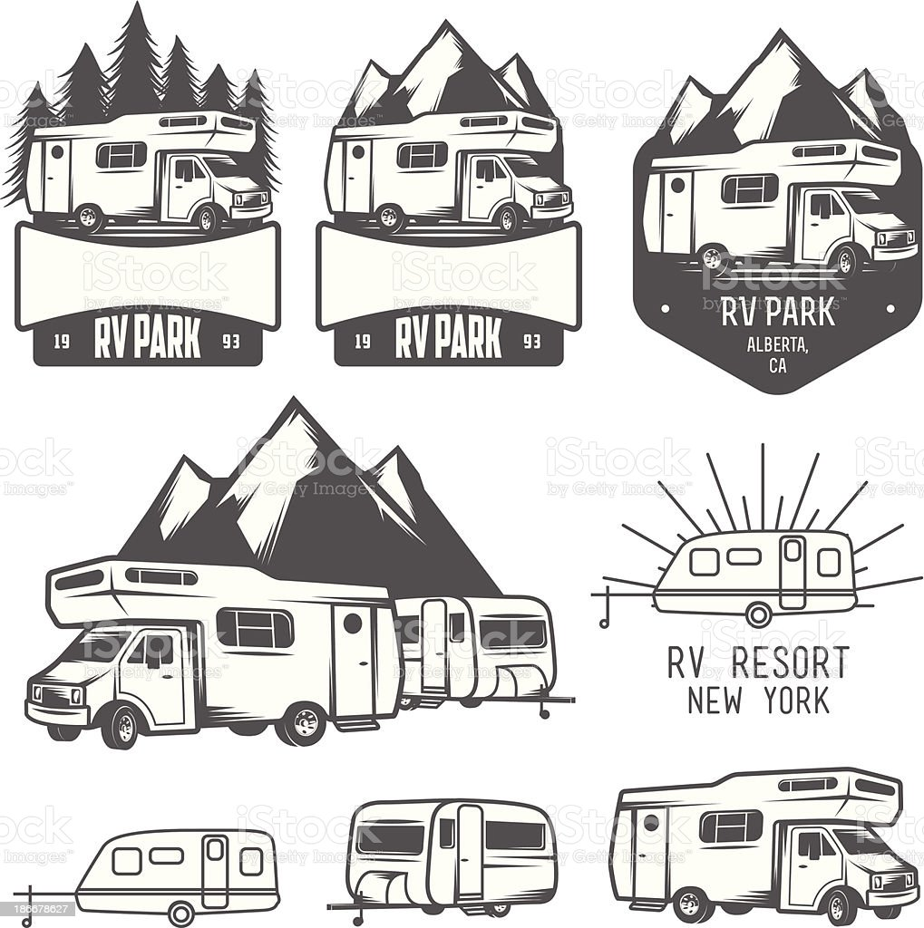 RV park badges and design elements vector art illustration