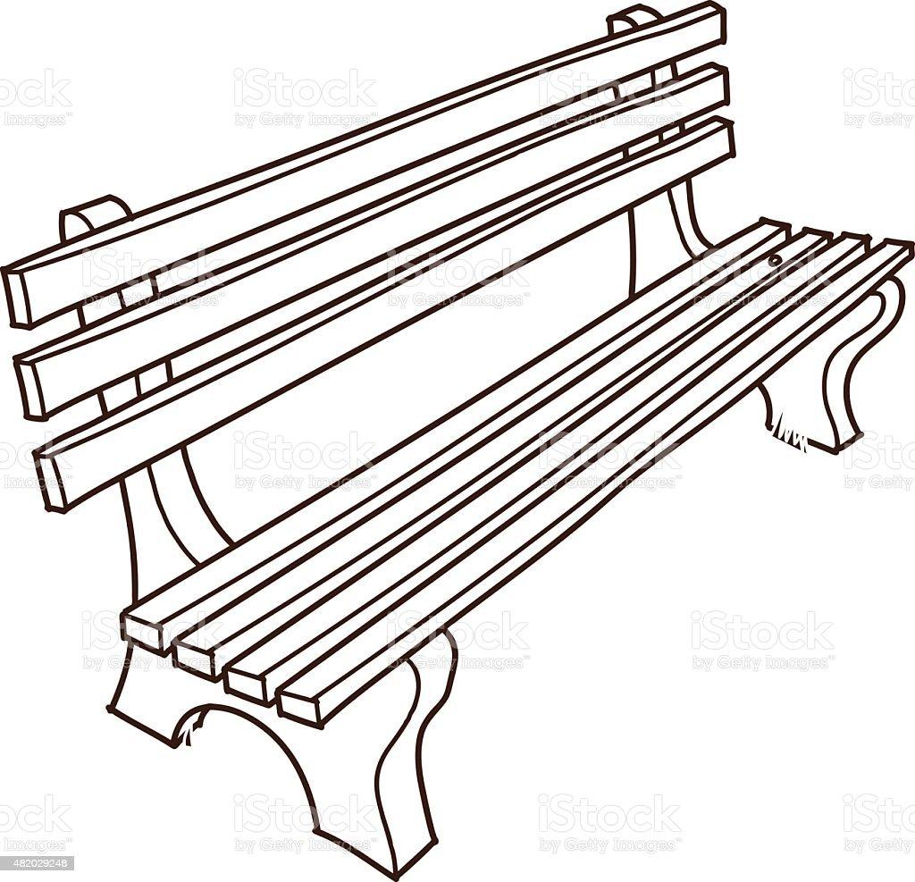 Park bench Drawing vector art illustration
