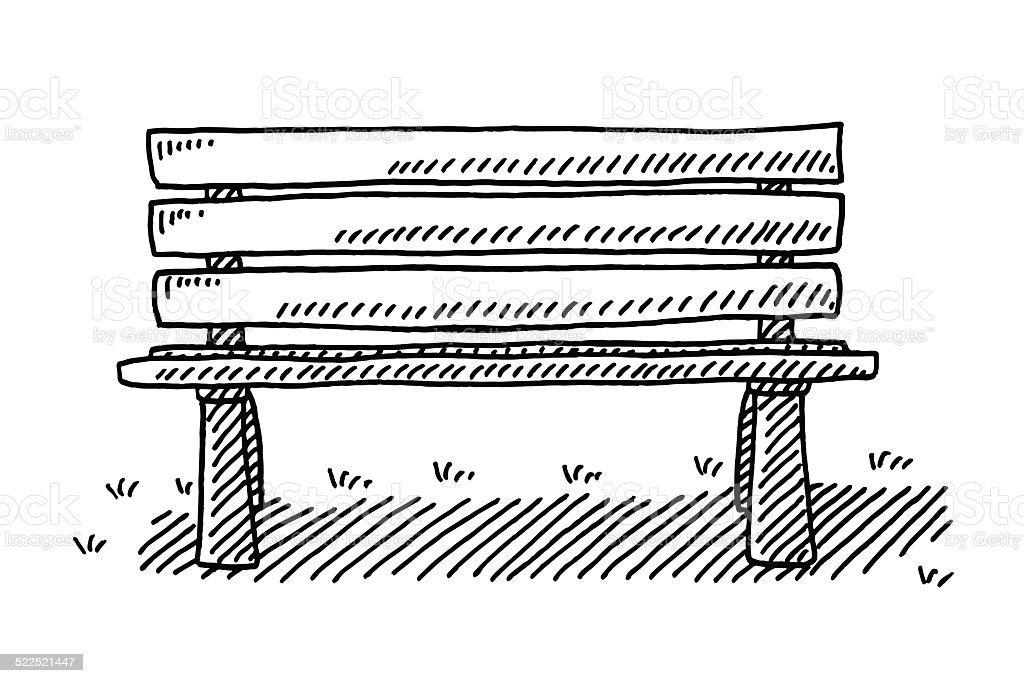 Park Bench Drawing vector art illustration