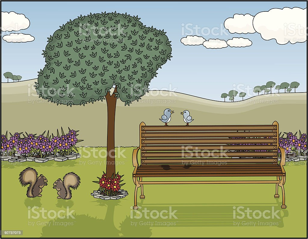 Park Bench Oasis royalty-free stock vector art