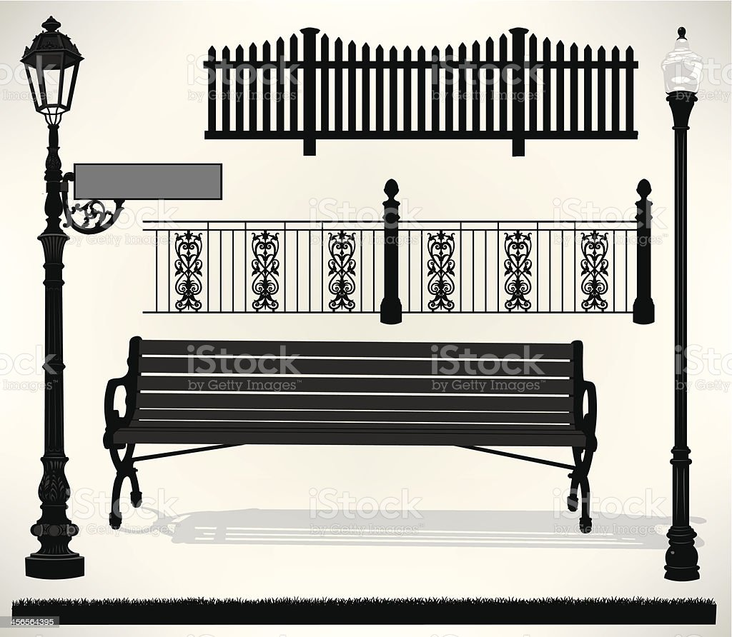 Park Bench Setting - Street Sign, Light, Fence vector art illustration