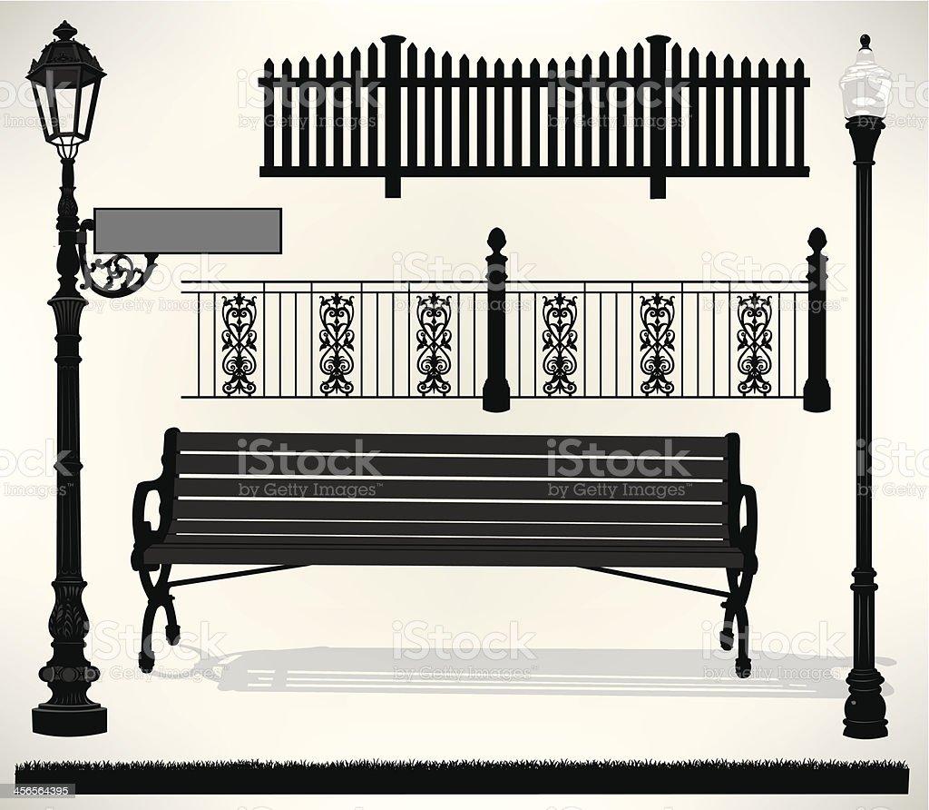 Park Bench Setting - Street Sign, Light, Fence vector art illustration