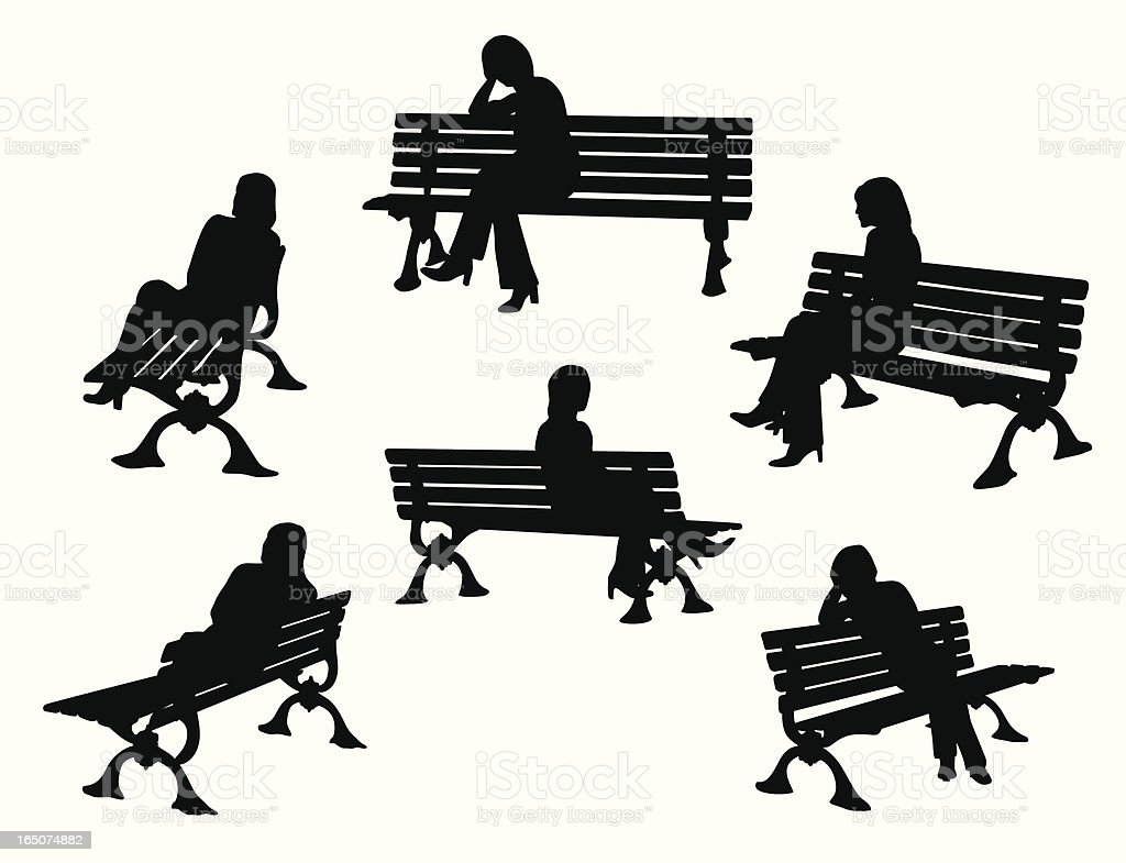 Park Bench Variety Vector Silhouette royalty-free stock vector art