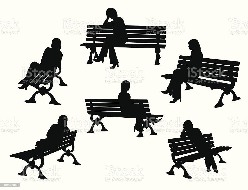 Park Bench Variety Vector Silhouette vector art illustration