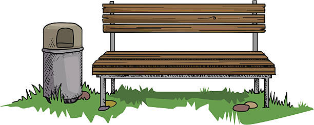Lobby Bench Clip Art ~ Old wooden bench cartoon clip art vector images