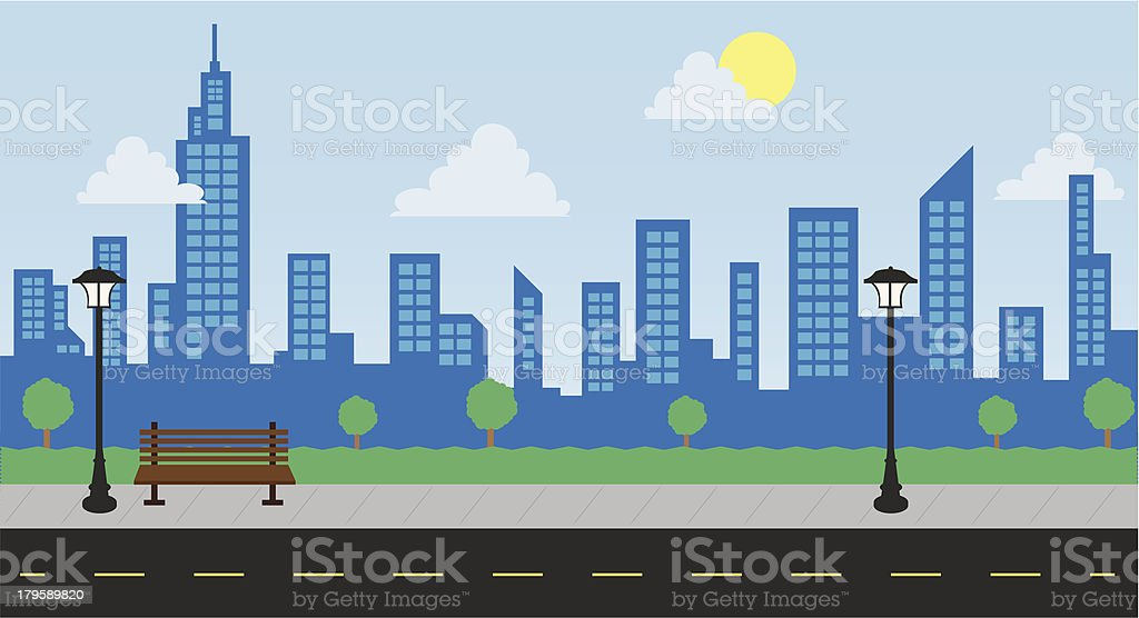 Park Buildings and Street Daylight vector art illustration