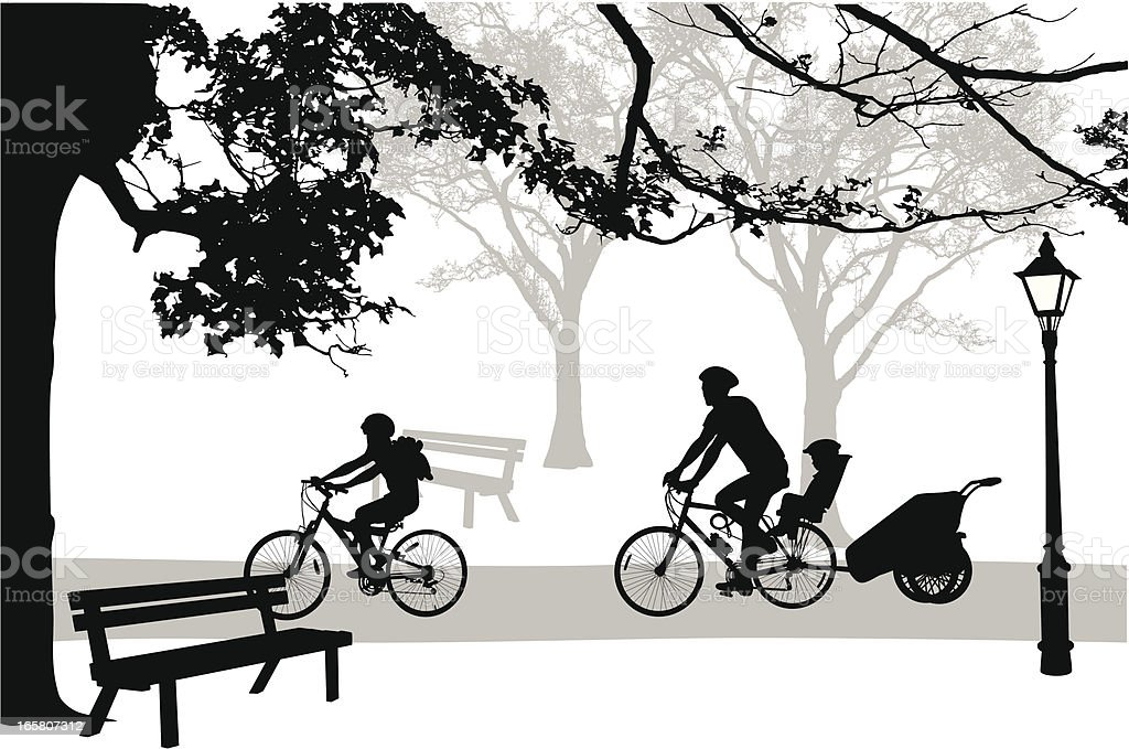 Park Cycling Vector Silhouette royalty-free stock vector art
