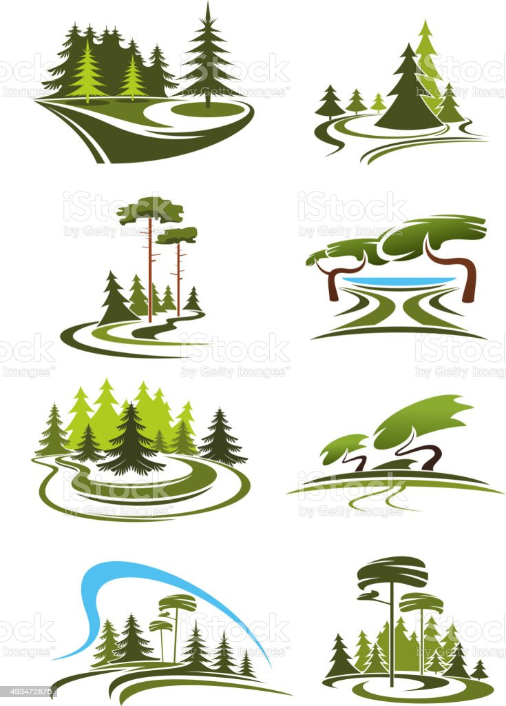 Park, garden and forest landscape icons vector art illustration