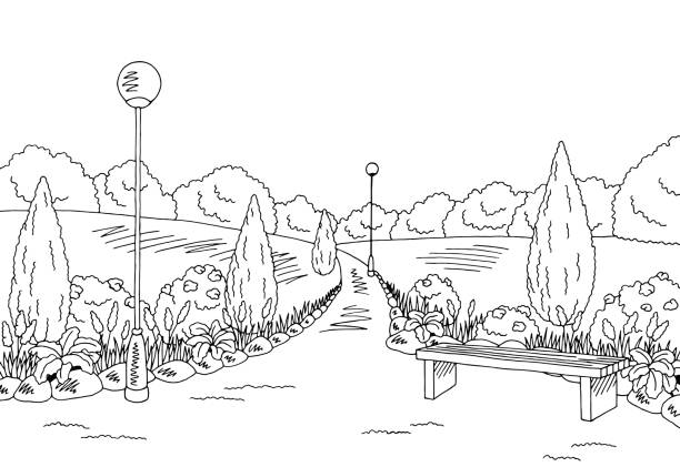 Drawing Of The Bench In Park Clip Art, Vector Images ... Park Bench Clipart Black And White