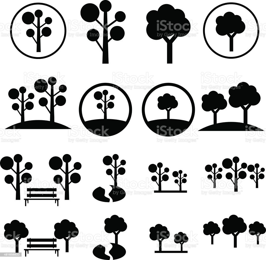 Park Icon Set vector art illustration