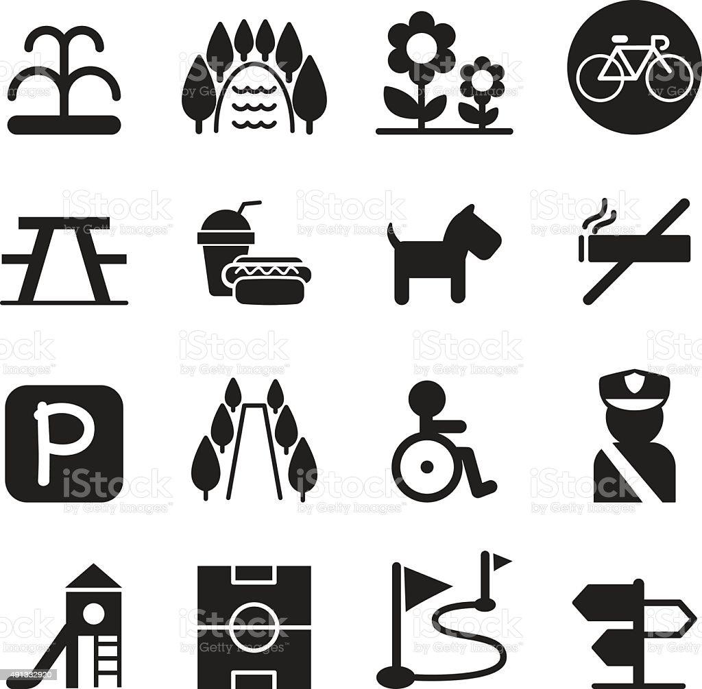 Park icon set vector art illustration
