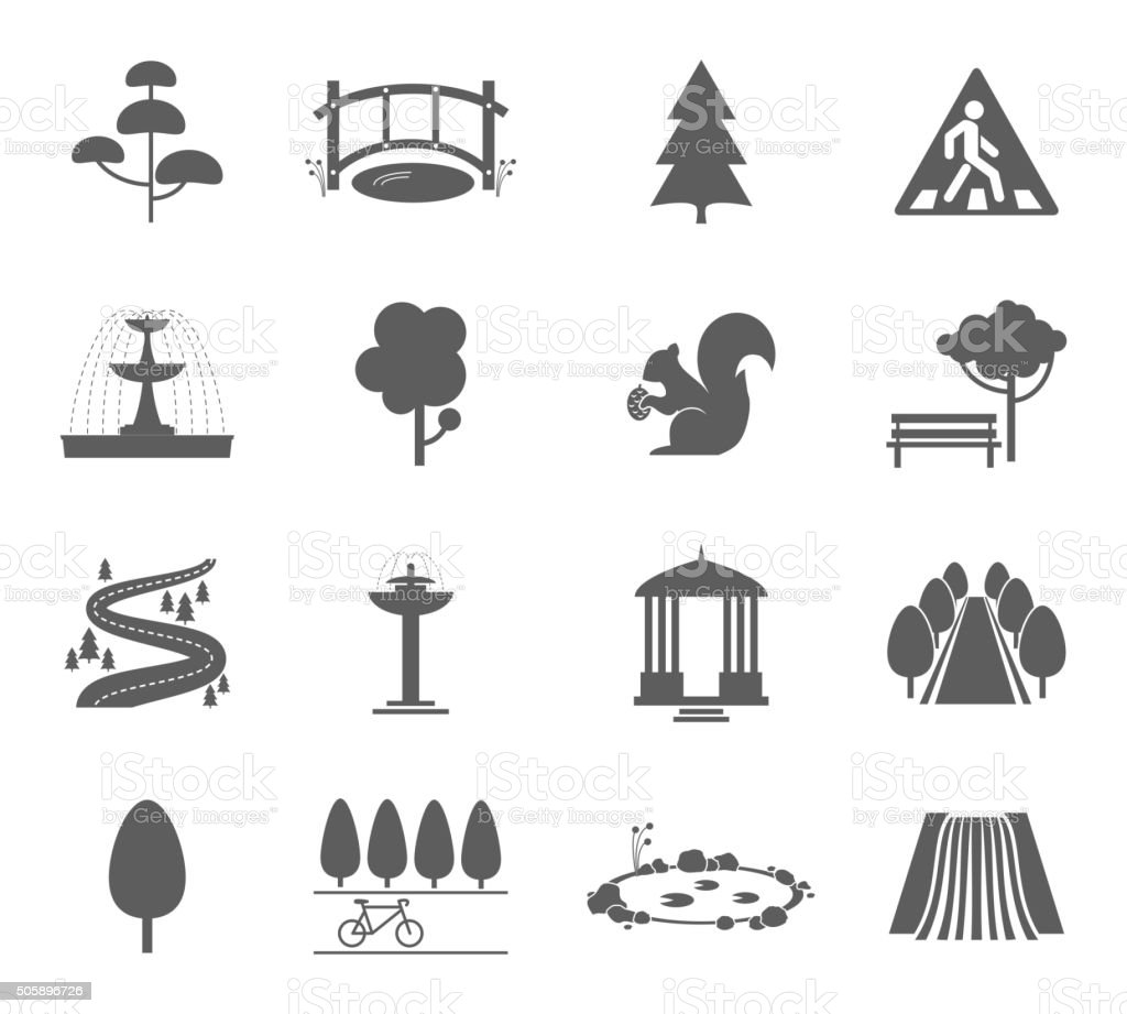 Park icons vector set vector art illustration