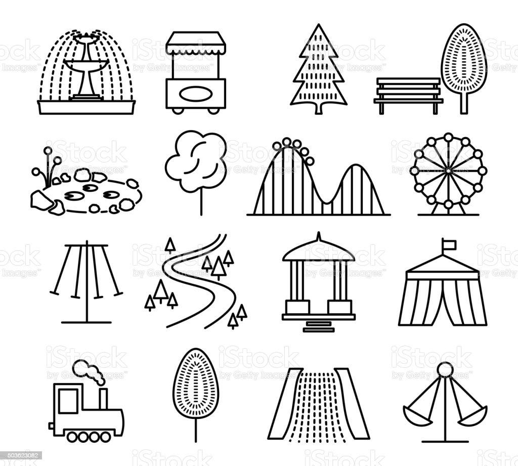 Park landscape and amusement line icons vector set vector art illustration