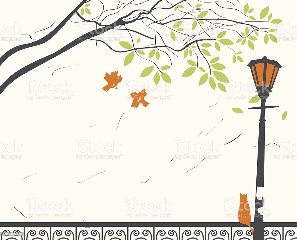 park landscape with lantern royalty-free stock vector art