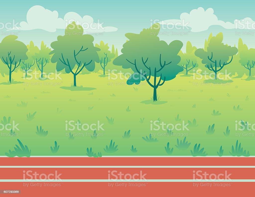 Park Landscape with running track. Environment. vector art illustration