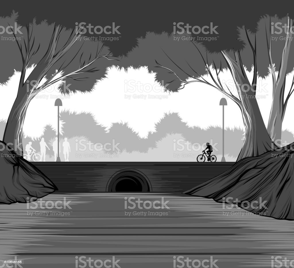 Park life in city vector art illustration