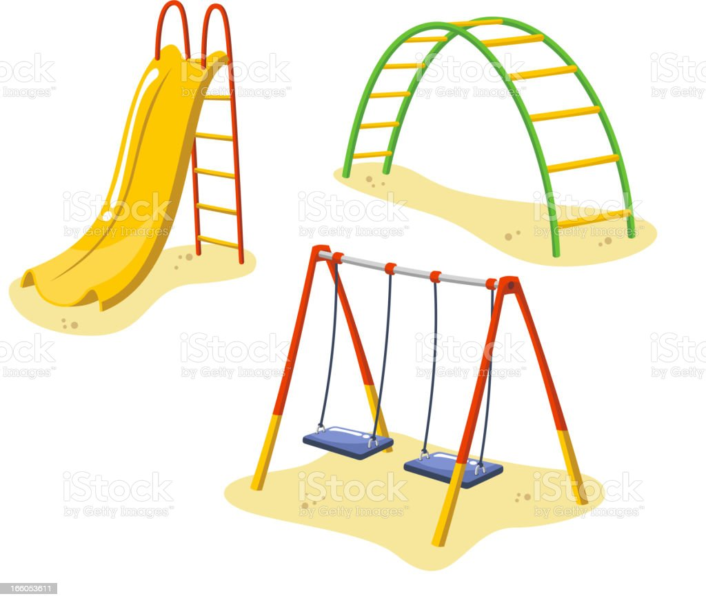 Park Playground Equipment set for Children Playing Stations vector art illustration