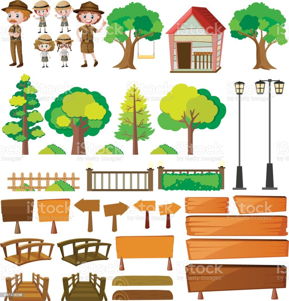Park rangers and tree products vector art illustration