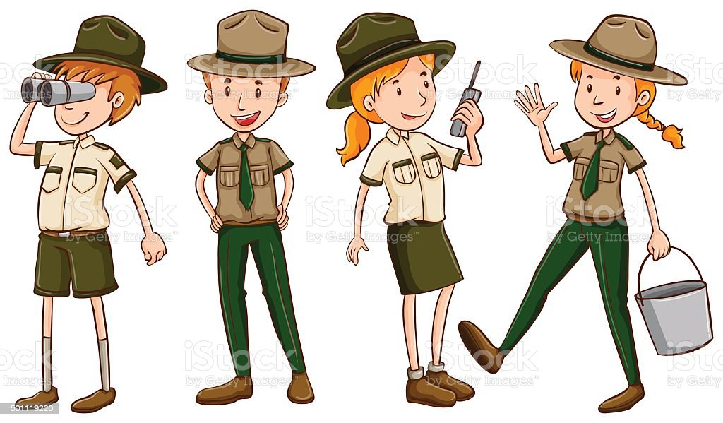 Park rangers  brown uniform vector art illustration