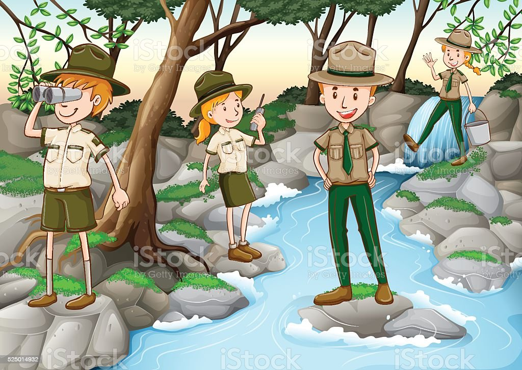 Park rangers standing at the waterfall vector art illustration