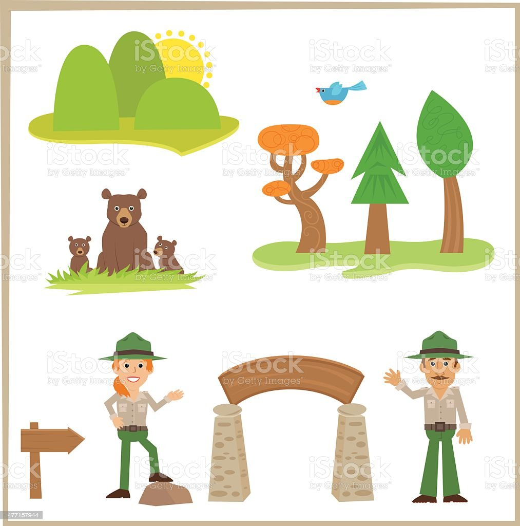 Park Rangers vector art illustration