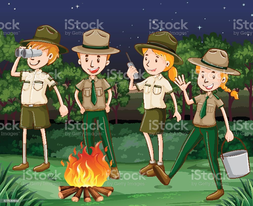 Park rangers working at night vector art illustration