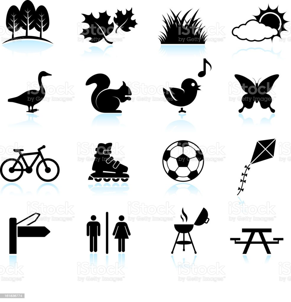 Park, Recreation and Wildlife black & white vector icon set royalty-free stock vector art