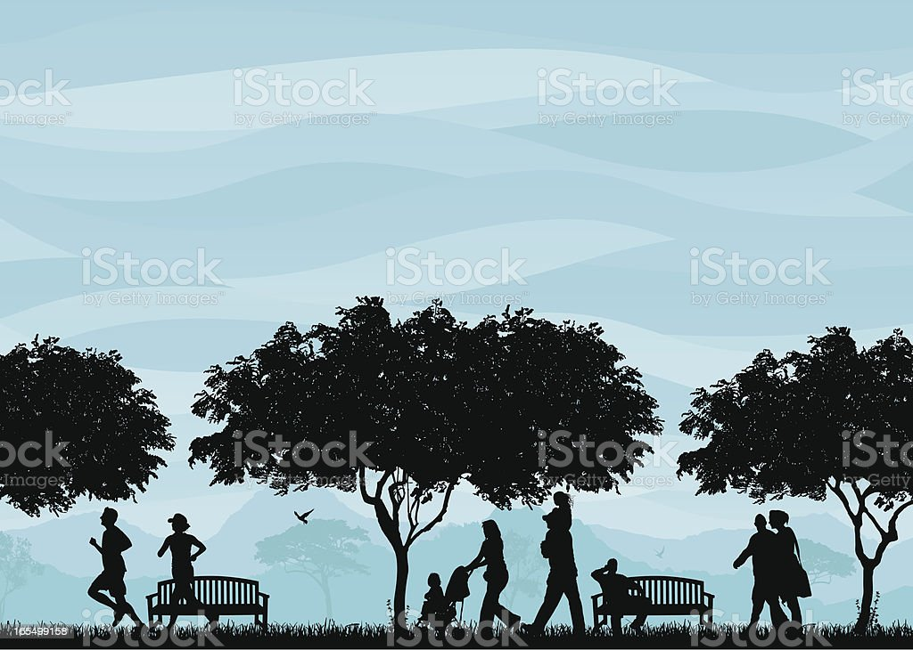 Park Scene vector art illustration