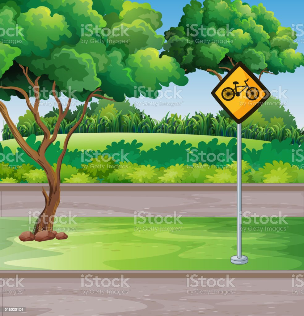 Park scene with bicycle lanes vector art illustration
