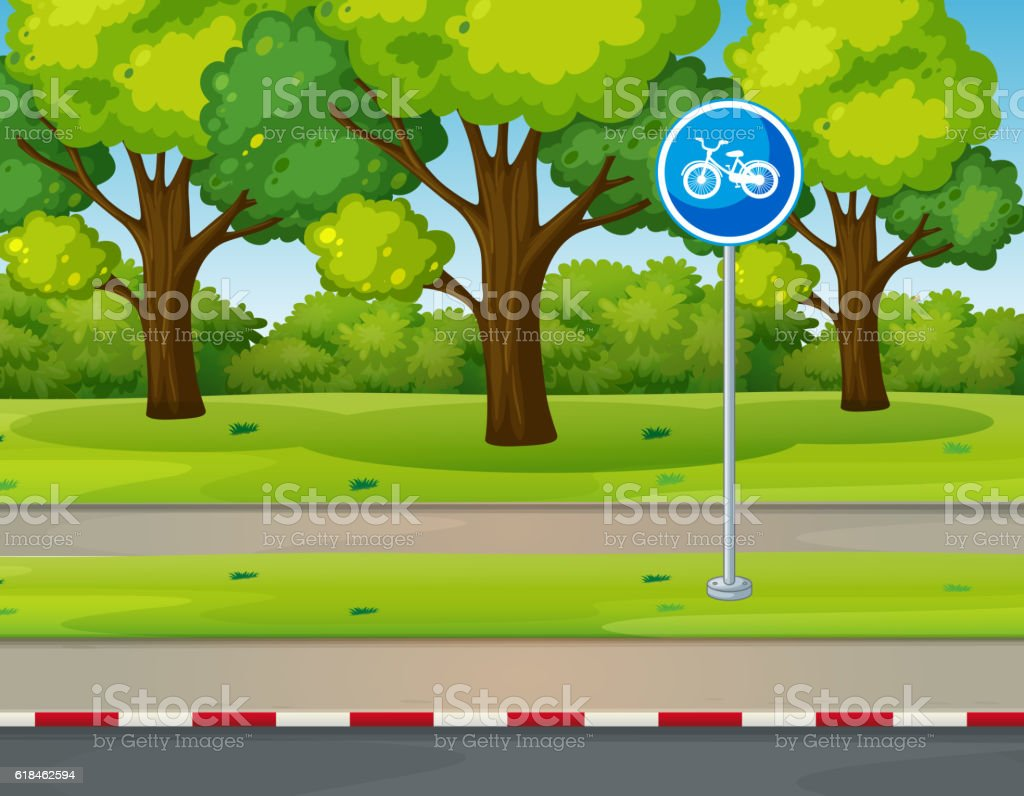 Park scene with bike lane on the road vector art illustration