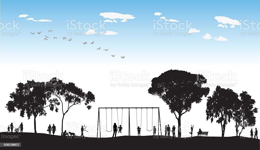 Park Swings In Silhouette vector art illustration