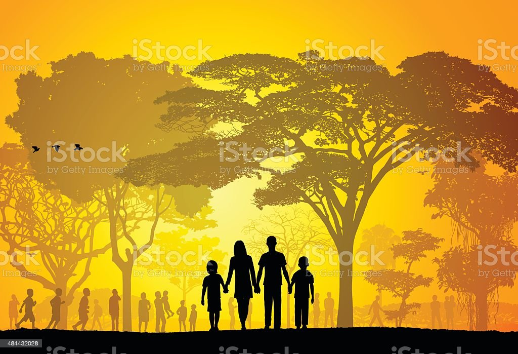 Park (Trees Are Complete, A Clipping Path Hides The Edges) vector art illustration