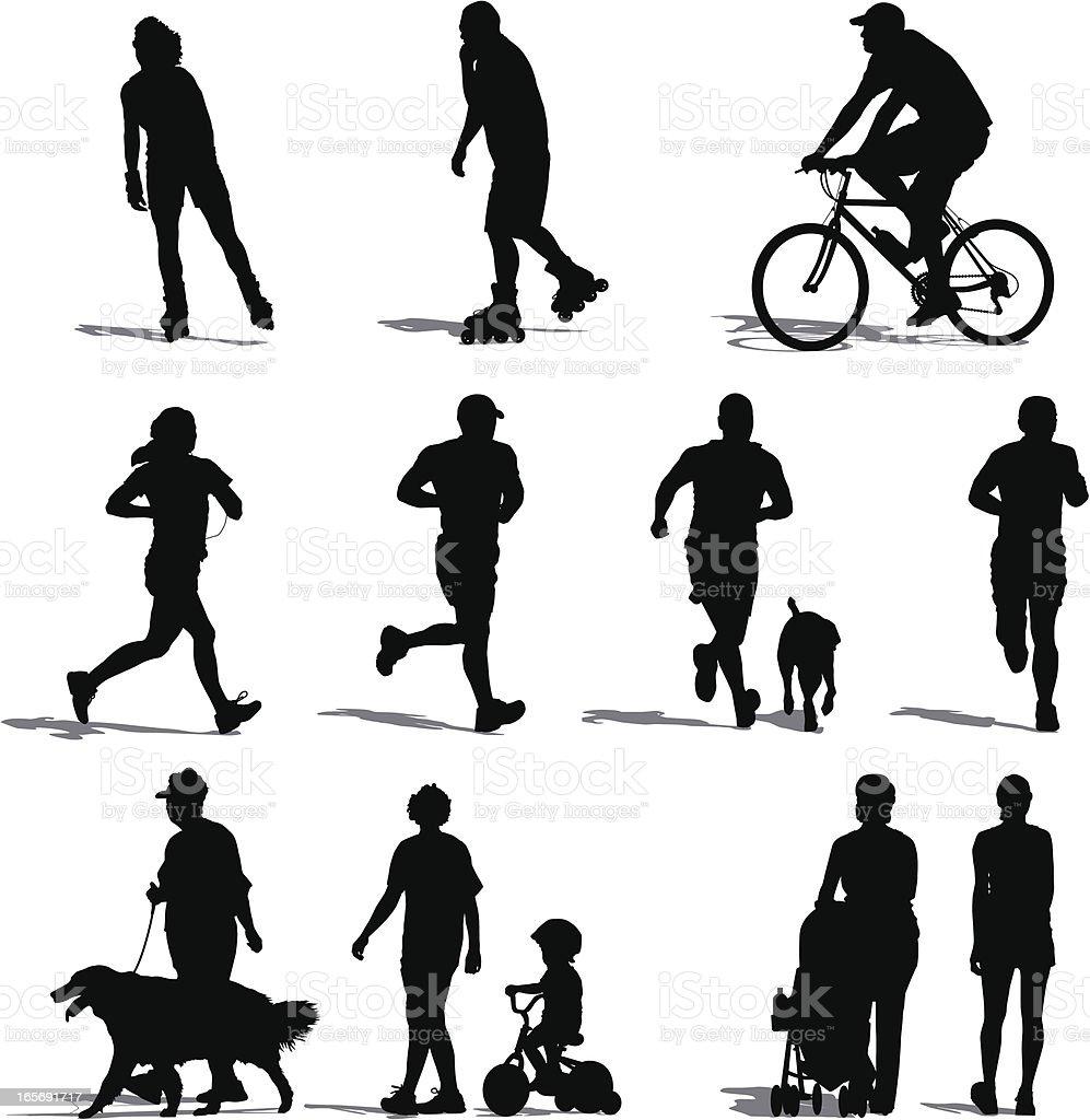 Park Vistors Exercising vector art illustration