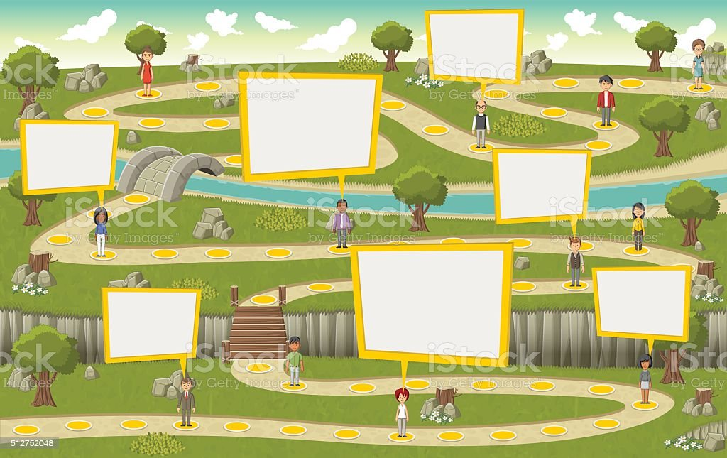 park with cartoon people vector art illustration