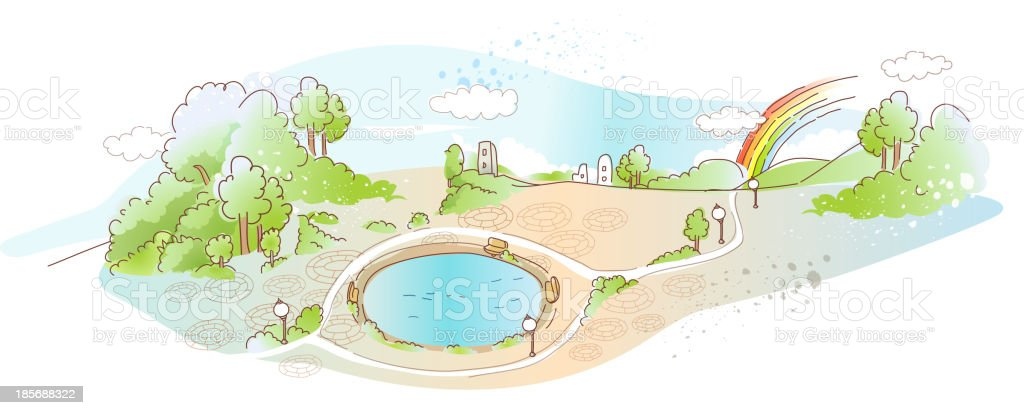 park with pool royalty-free stock vector art