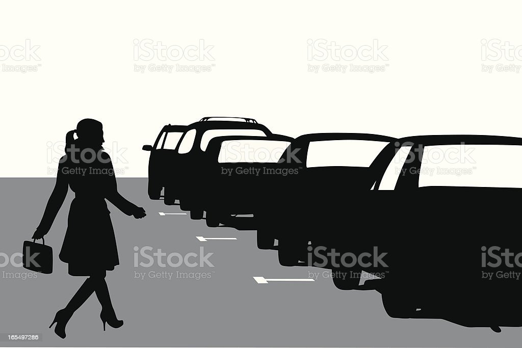 Parked Cars Vector Silhouette royalty-free stock vector art