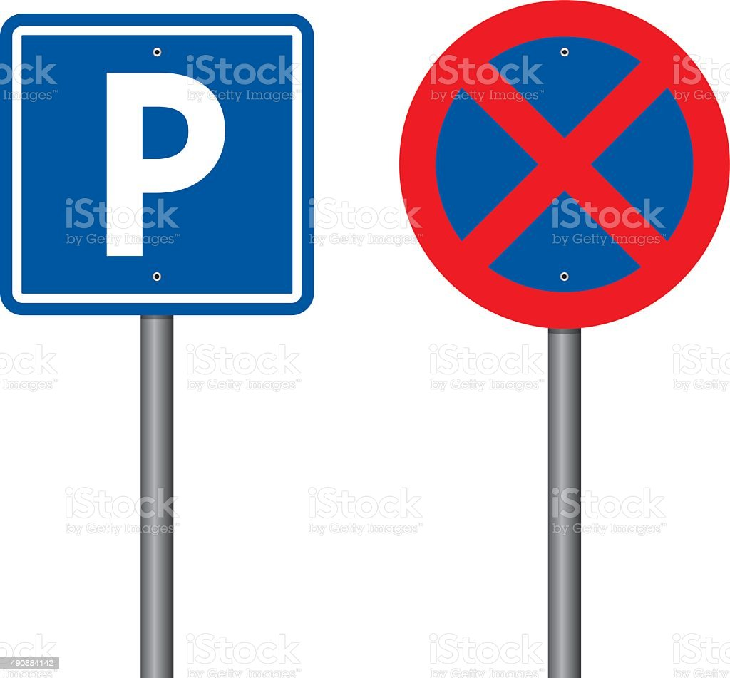 Parking And No Parking Sings vector art illustration