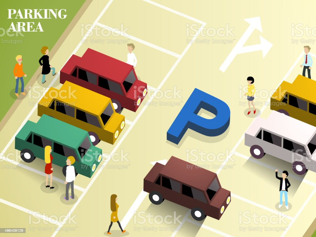 parking area vector art illustration