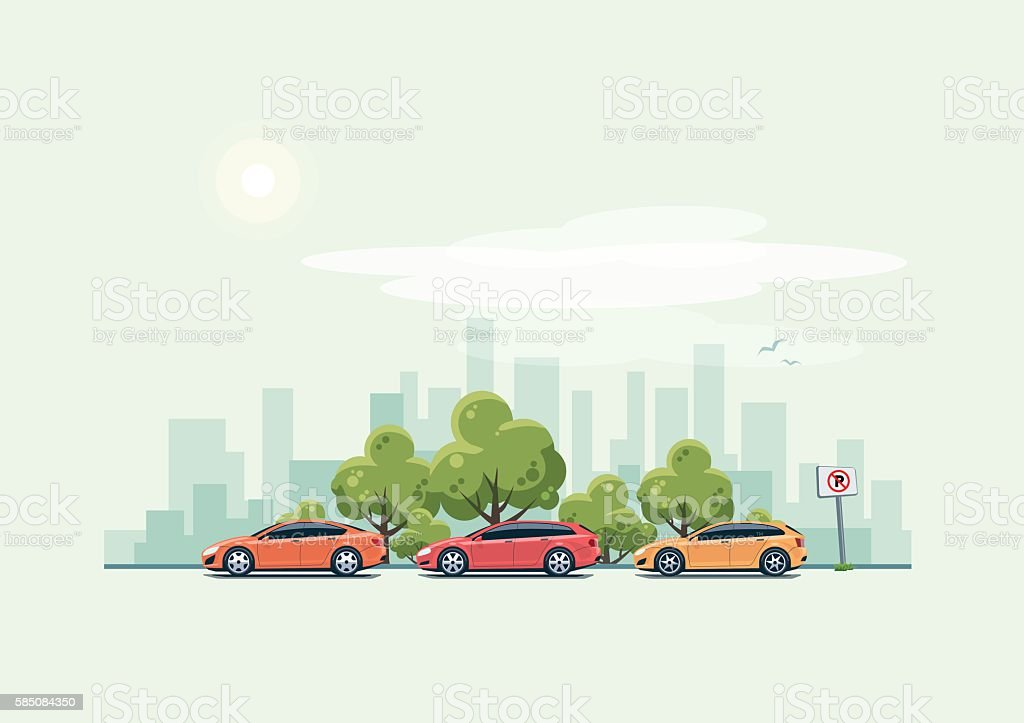 Parking Cars and City Background with Green Trees vector art illustration