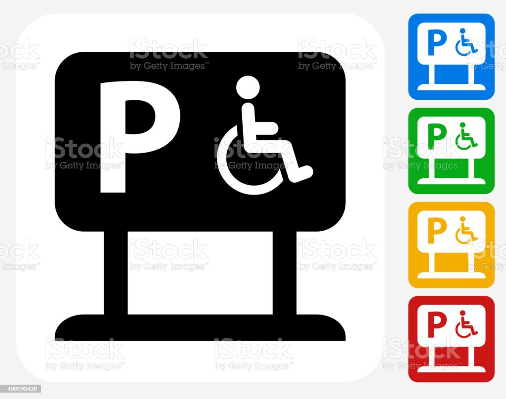 Parking for People with Disabilities Icon Flat Graphic Design vector art illustration