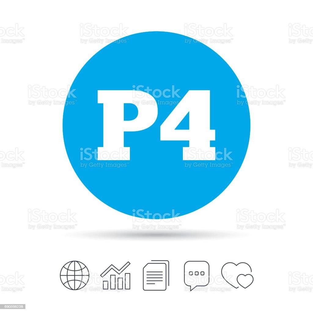 Parking Fourth Floor Icon Car P4 Symbol Royalty Free Stock Vector Art