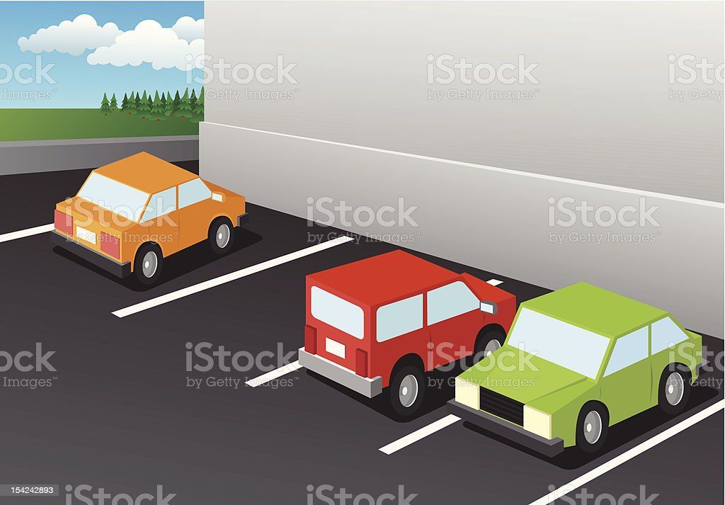 Parking Lot at the Mall royalty-free stock vector art