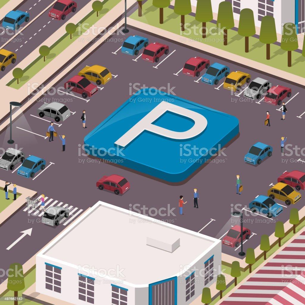 parking lot concept vector art illustration