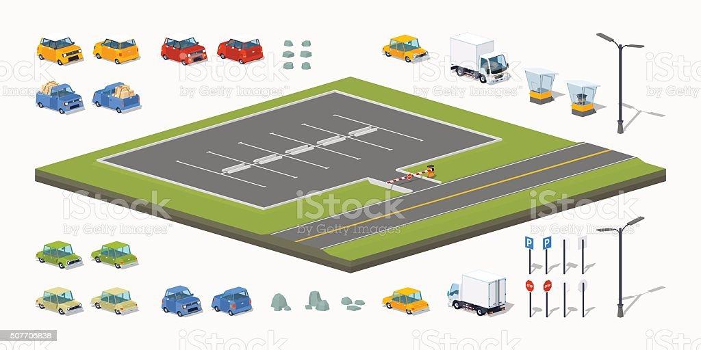 Parking lot constructor vector art illustration