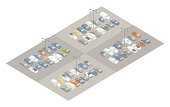 Parking lot isometric illustration