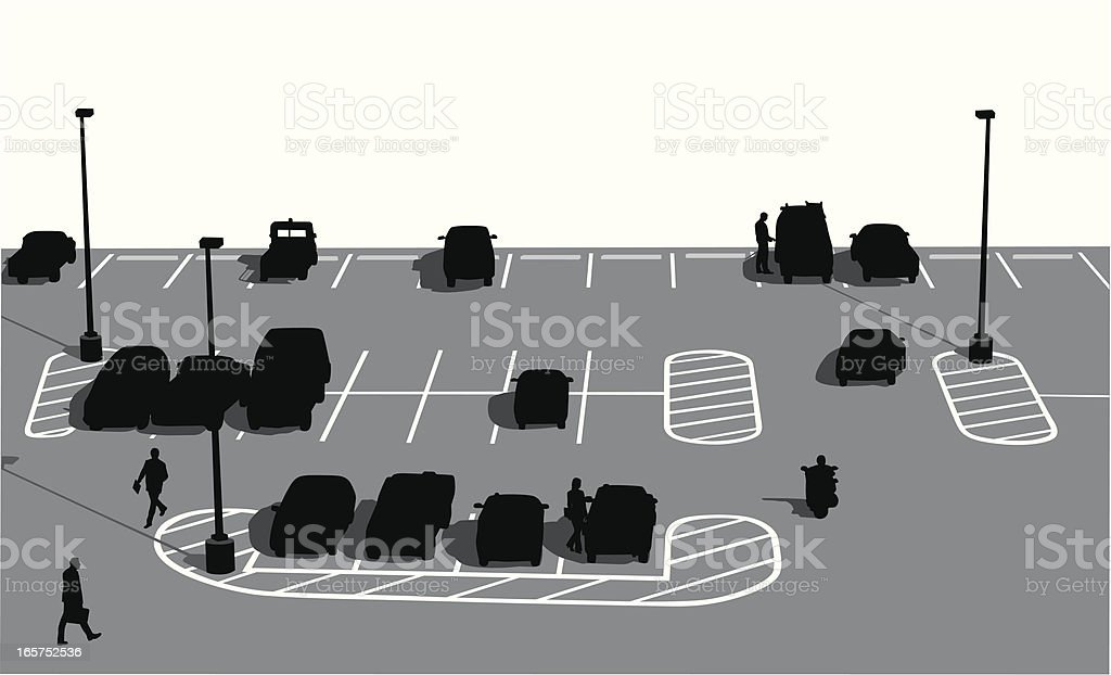 Parking Lot People Vector Silhouette royalty-free stock vector art