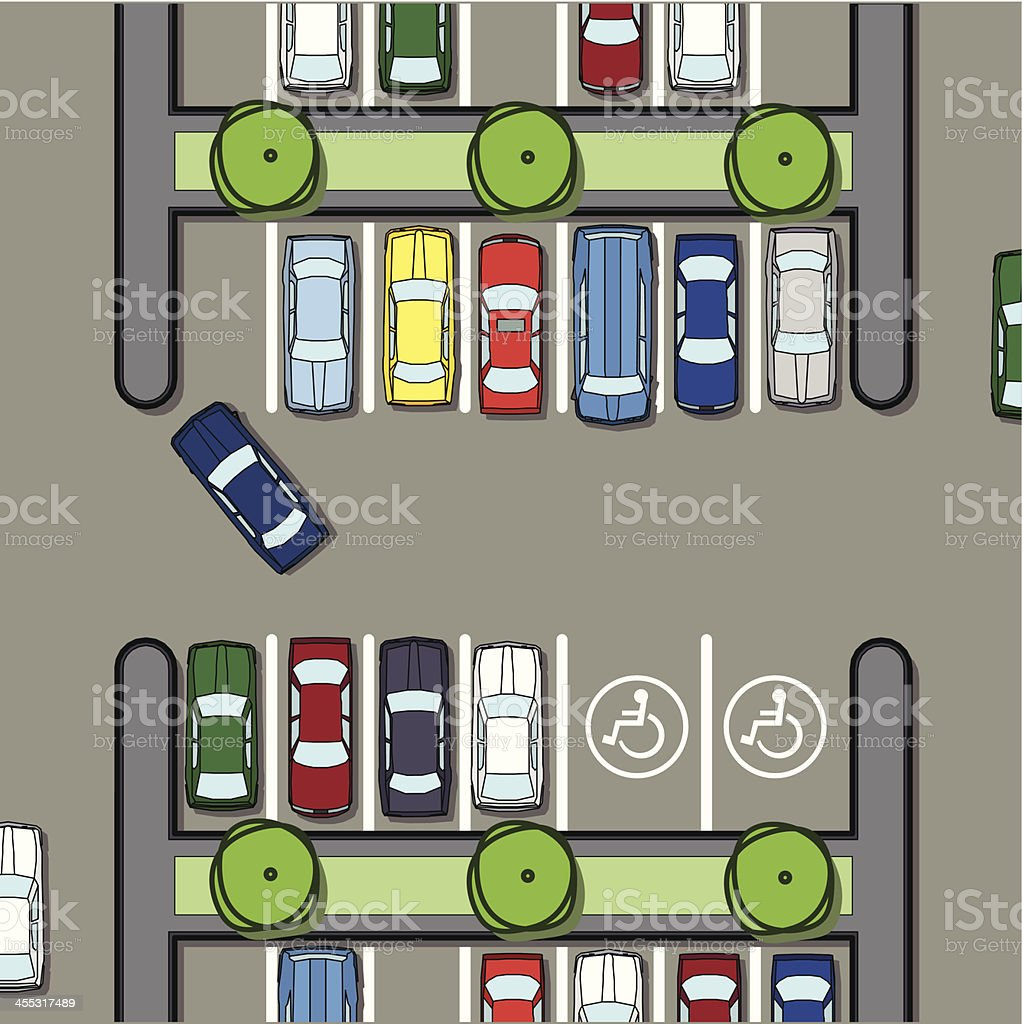 parking lot plan with handicapped zone royalty-free stock vector art