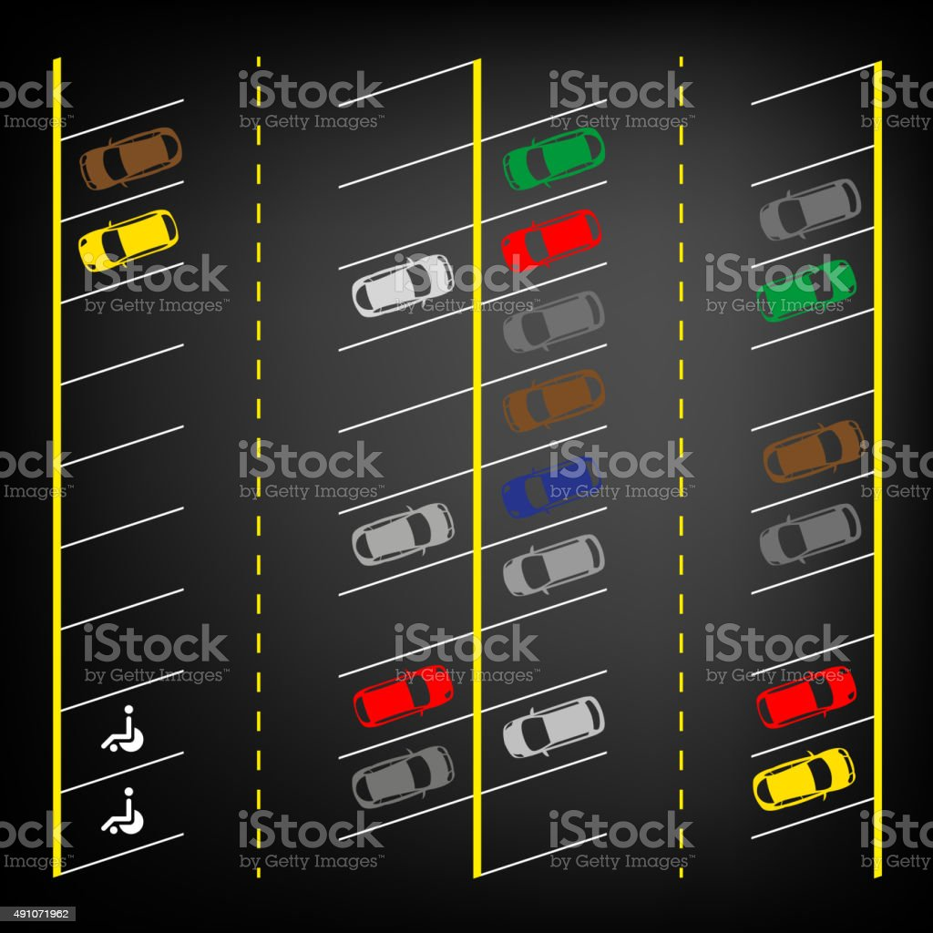 Parking lot top view vector art illustration