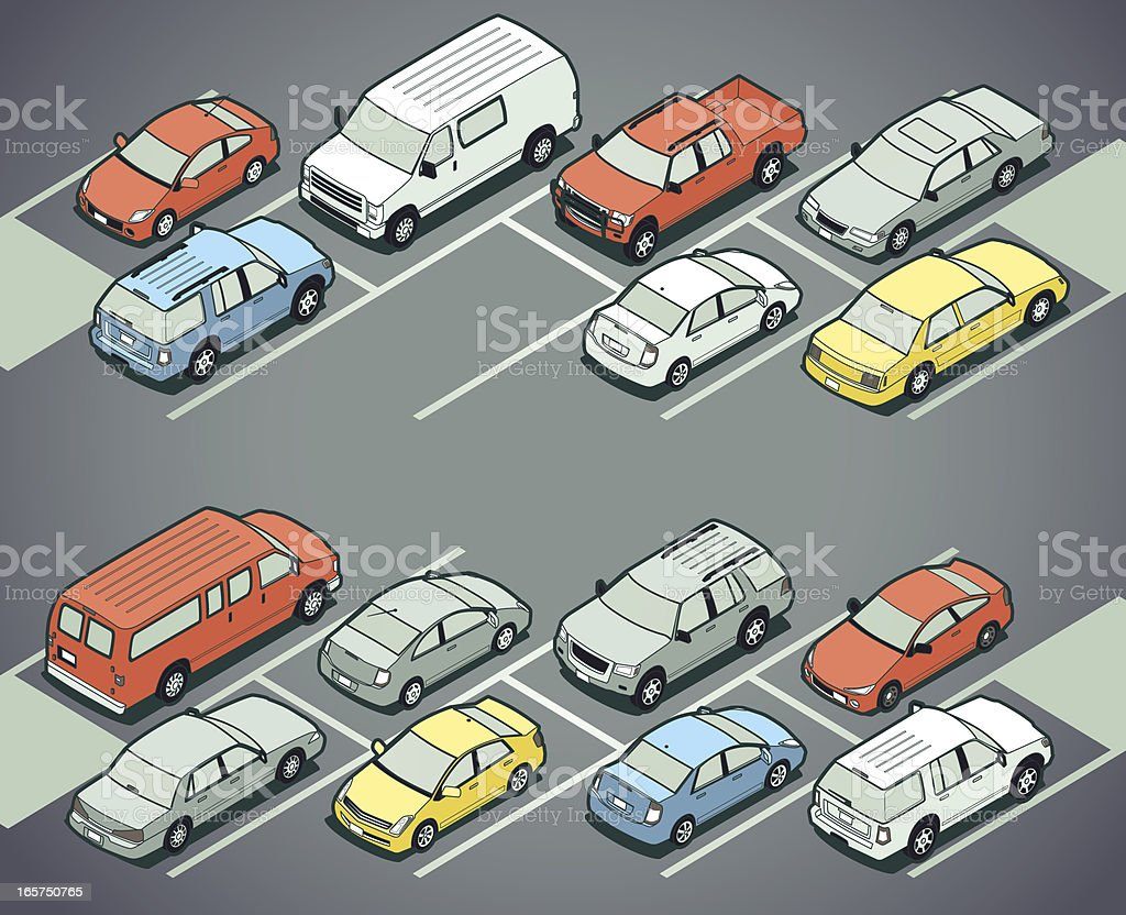 Parking Lot vector art illustration